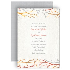 Twigs on Burlap - Poppy - Invitation