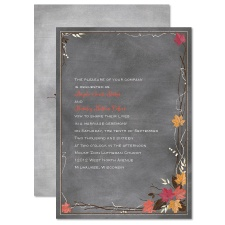 Chalkboard Autumn Barn Red Wedding Invitation