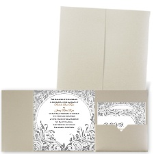 Damask Moon Gold Shimmer Pocket Wedding Invitation