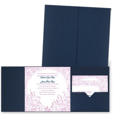 Damask Moon - Navy - Pocket Invitation