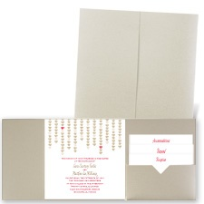 Heart Garland - Gold Shimmer - Pocket Invitation