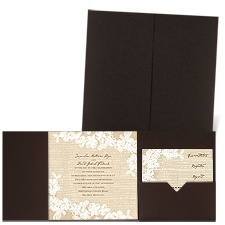 Burlap and Lace Brown Shimmer Pocket Brown Wedding Invitation