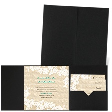 Burlap and Lace Black Pocket Wedding Invitation