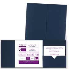 Modern Impression Navy Pocket Wedding Invitation
