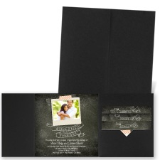 Favorite Photo Black Pocket Wedding Invitation