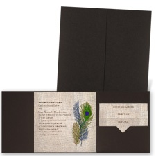 Feathers on Burlap - Brown Shimmer - Pocket Invitation