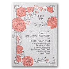 Rose Garden Letterpress Wedding Invitation