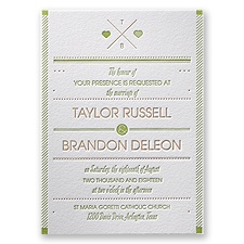 Two Hearts Letterpress Wedding Invitation