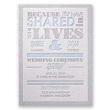 Lives Shared Letterpress Wedding Invitation
