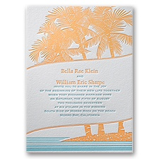 Tropical Escape Letterpress Wedding Invitation