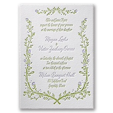 Flowers and Vines Letterpress Wedding Invitation