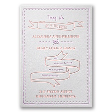 Stitched with Love Letterpress Wedding Invitation