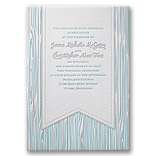 Rustic Woodgrain Letterpress Wedding Invitation