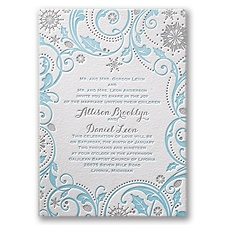 Winter Whimsy Letterpress Blue Wedding Invitation