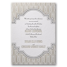 Art Deco Frame Letterpress Wedding Invitation