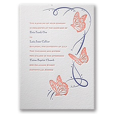 Butterfly Breeze Letterpress Wedding Invitation