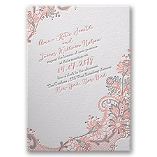Love and Lace Letterpress Pink Wedding Invitation
