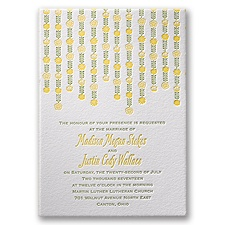 Floral Garland Letterpress Wedding Invitation