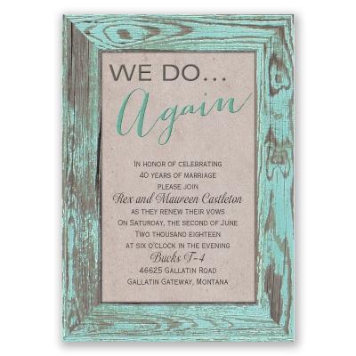 tried and true vow renewal invitation - aqua | rustic ...