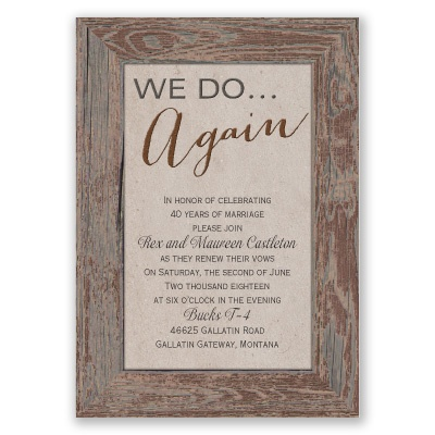 Wedding Gifts For Vow Renewal : tried and true vow renewal invitationbrown rustic invites at ...