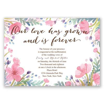 love grows vow renewal invitation watercolor invites at