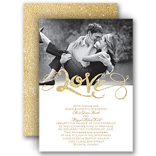 Love Sparkles Timber Faux Glitter Wedding Invitation