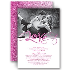 Love Sparkles - Fuchsia Faux Glitter - Invitation