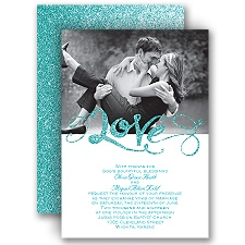 Love Sparkles Palm Faux Glitter Wedding Invitation