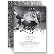 Love Sparkles Pewter Faux Glitter Wedding Invitation