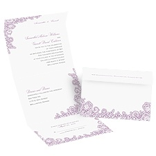 Lacy Corners  Seal and Send Vintage Wedding Invitation