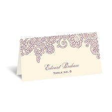 Lacy Corners - Ecru - Escort Card