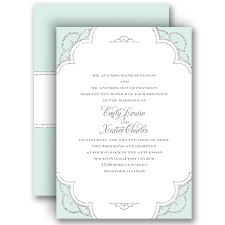 Radiant Mint Faux Glitter Wedding Invitation