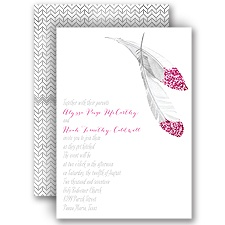 Feather Bright Fuchsia Faux Glitter Wedding Invitation