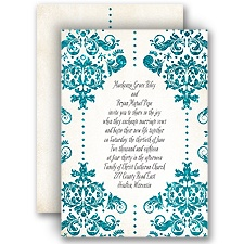 Brilliant Damask Palm Faux Glitter Wedding Invitation