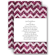 Shiny Chevron - Fuchsia Faux Glitter - Invitation