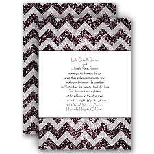 Shiny Chevron Violet Faux Glitter Wedding Invitation