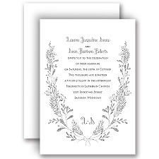 Glimmer and Glow Pewter Faux Glitter Wedding Invitation