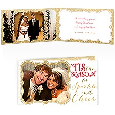Sparkle and Cheer - Gold Faux Glitter - Photo Holiday Card