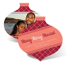 Merry Married Ornament - Merlot - Photo Holiday Card