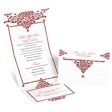 Dazzling Damask Cherry Faux Glitter Seal and Send Wedding Invitation