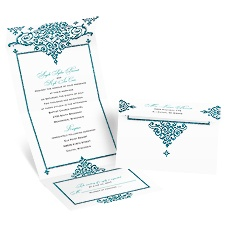 Dazzling Damask Palm Faux Glitter Seal and Send Blue Wedding Invitation