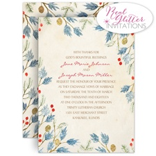Winter Foliage - Real Glitter Invitation