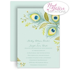 Radiant Plumes - Real Glitter Invitation