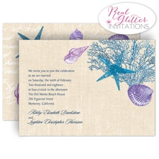 Shining Seashells - Navy - Real Glitter Invitation