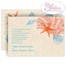 Shining Seashells - Poppy - Real Glitter Invitation