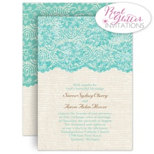 Luminous Lace Real Glitter Blue Wedding Invitation