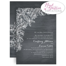 Flashy Flourish - Real Glitter Invitation