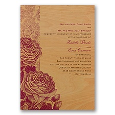 Roses and Lace - Real Wood Invitation