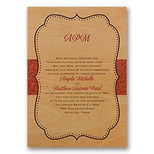 Crest on Burlap Real Wood Wedding Invitation