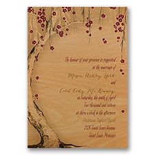 Tree Blossoms Real Wood Wedding Invitation